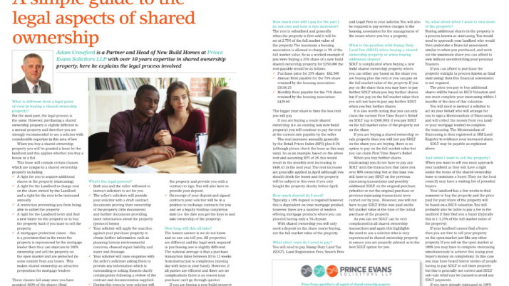Adam Crawford writes for First Time Buyers Magazine on the Legal aspects of shared ownership