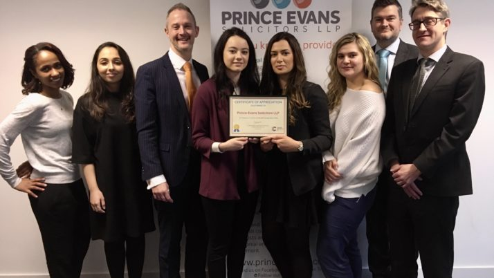 PRINCE EVANS SOLICITORS HONOURED FOR HELPING TO SECURE VITAL FUNDS FOR CANCER RESEARCH UK