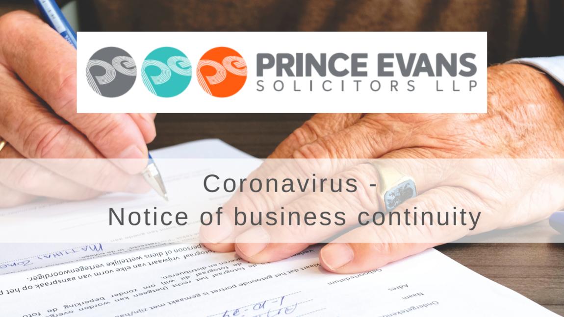 Coronavirus – Notice of business continuity
