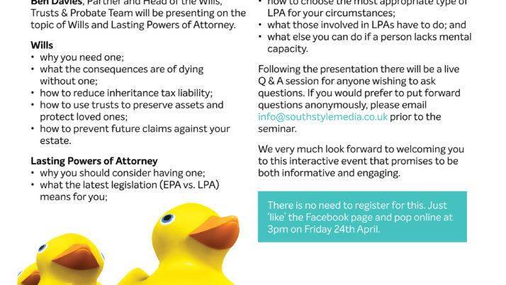 Free Facebook Live Online Seminar: Wills & LPA
