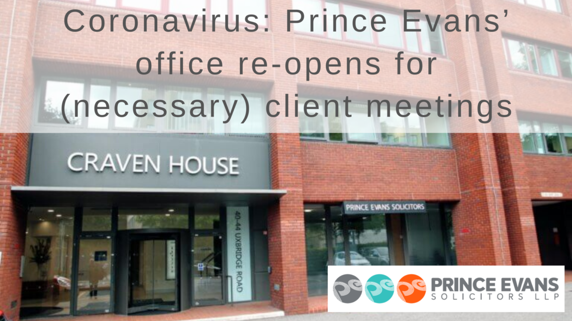 Coronavirus: Prince Evans' office re-opens for (necessary) client meetings